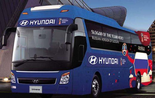 Autobuses Hyundai para las 32 selecciones Rusia 2018