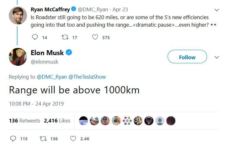 Tesla Roadster ofrecerá más de 600 millas de autonomía