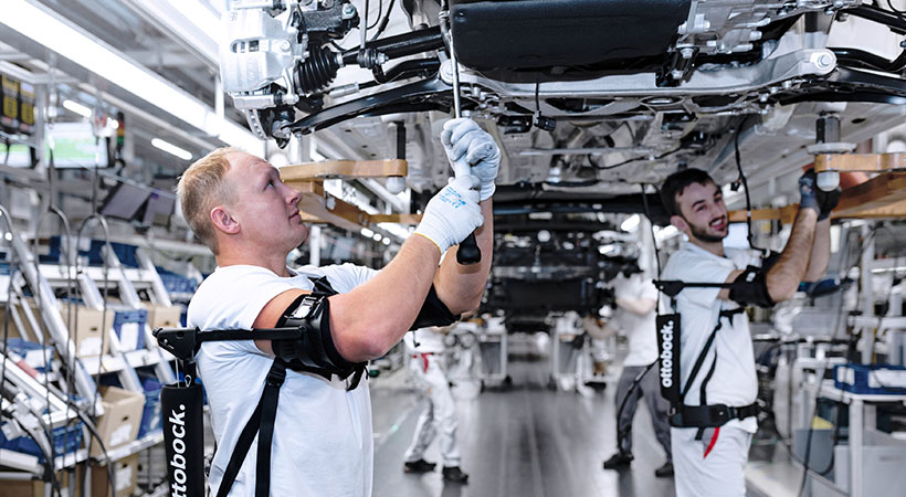 Audi production tests exoskeletons for overhead ta