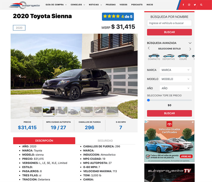 Autoproyecto Vehicle Description Page